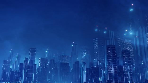 Ciudad futurista de ciencia ficción virtual.