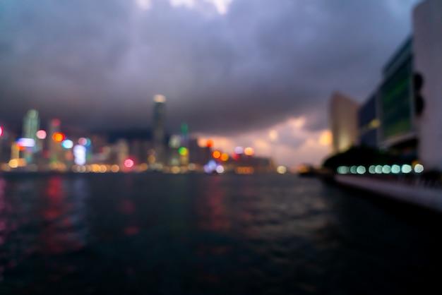 Ciudad de hong kong en escena borrosa