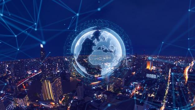 Ciudad inteligente y concepto de red global