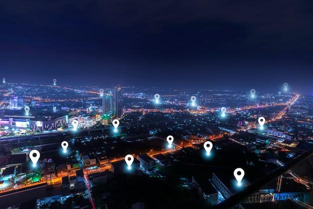 Ciudad inteligente con red de comunicación de puntos de control