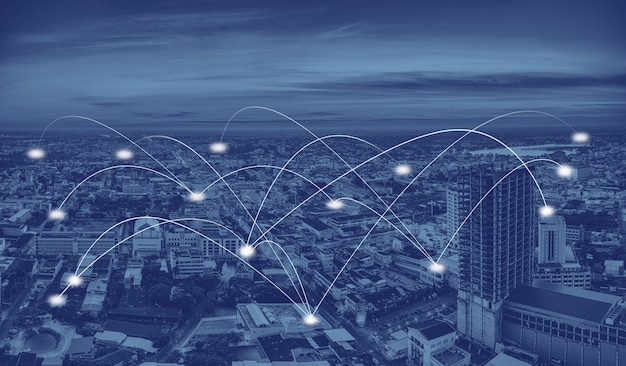 Ciudad inteligente y red de comunicación.