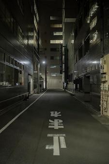 Ciudad de japón en la noche con calle vacía.
