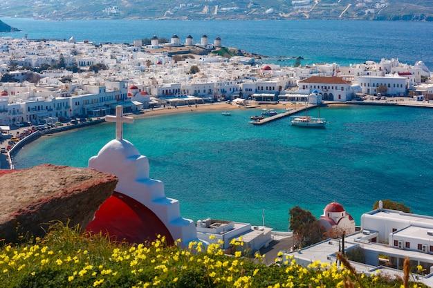 Ciudad de mykonos, chora en la isla de mykonos, grecia