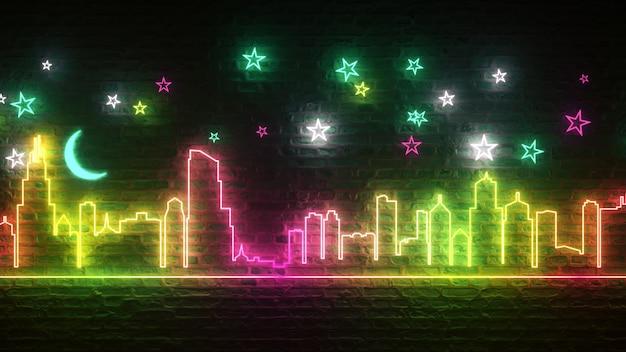 Ciudad de noche de neón brillante contra una pared de ladrillos con estrellas y la luna