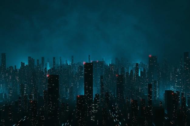 Ciudad en nubes de niebla en la noche desde vista aérea