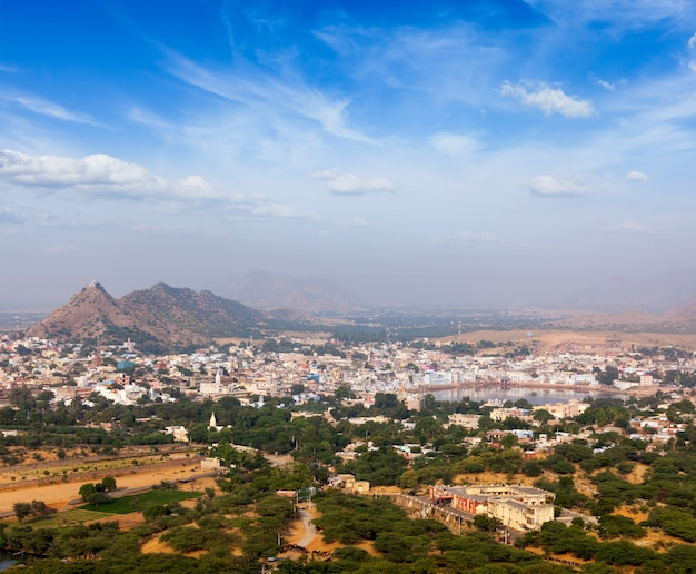 Ciudad santa de pushkar. rajasthan, india