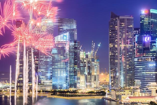 Ciudad de singapur por la noche