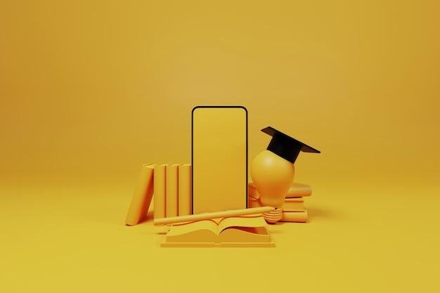 Clase en línea, educación en línea, tecnología de e-learning en teléfono inteligente móvil. curso de formación y educación en casa en el dispositivo. ilustración 3d