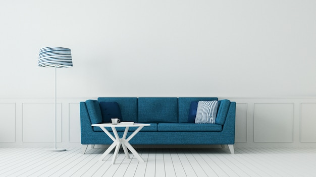 La clásica sala de estar azul y la lujosa pared interior / representación 3d