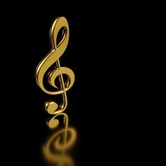 Clave de sol dorada. representación 3d