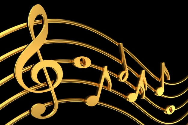 Clave de sol y notación musical. representación 3d.