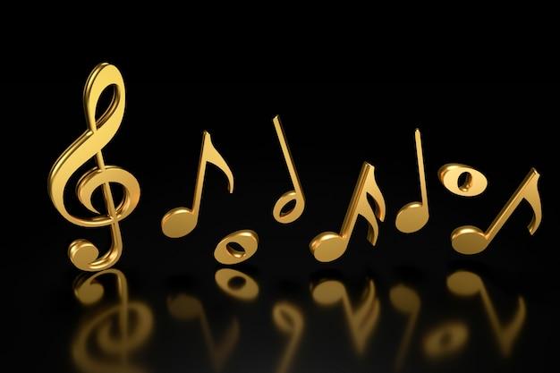 Clave de sol y notación musical. representación 3d