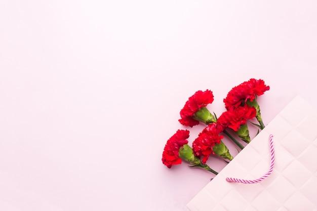 Claveles rojos en fondo rosado con el espacio de la copia. tarjeta del día de la madre, día de san valentín.