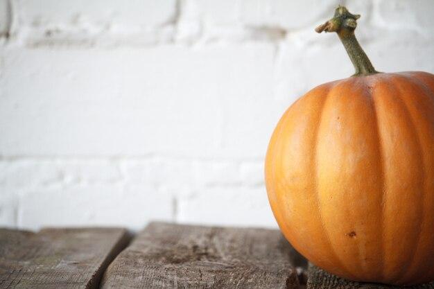 Close-up calabaza de otoño en la mesa, telón de fondo de ladrillo blanco, enfoque selectivo
