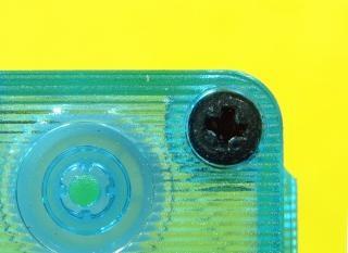 Close-up casete de cinta de plástico transparente
