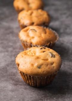 Close-up deliciosos muffins caseros