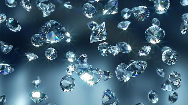 Close-up de diamantes que caen