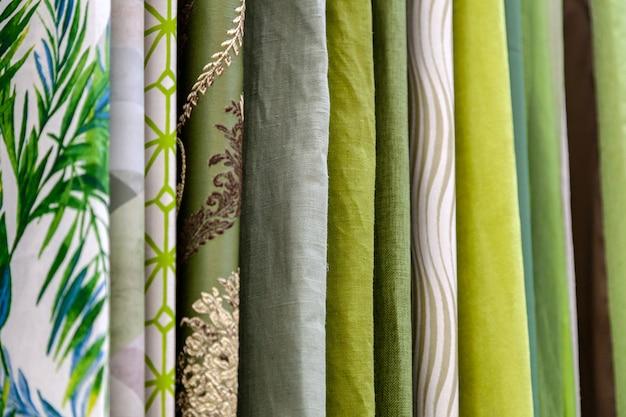Close-up filas de piezas de tela hechas de algodón