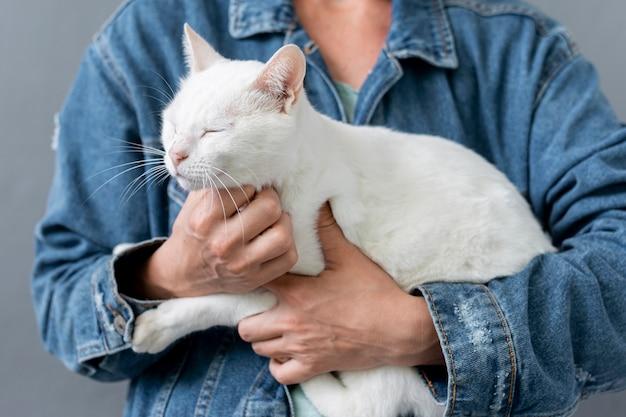 Close-up gato sentado en brazos del propietario