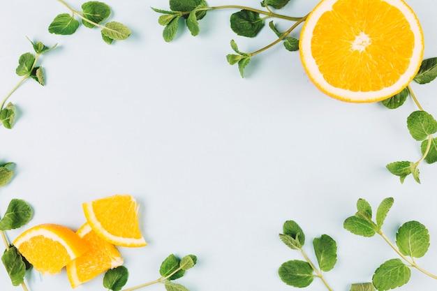 Close-up marco de limón y menta