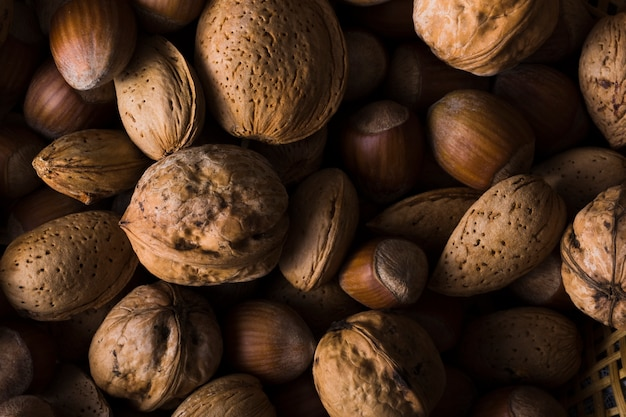 Close-up mezcla orgánica de nueces