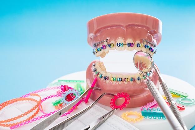Close up modelo ortodóntico y herramienta dentista.