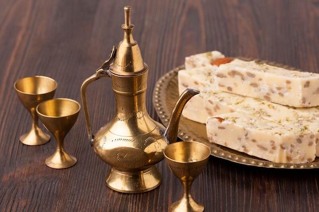 Close-up pasteles islámicos de año nuevo