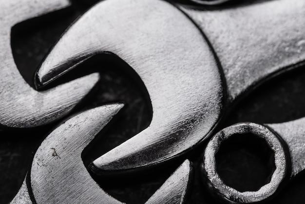 Close-up de teclas metálicas