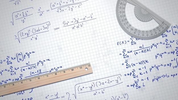 Closeup fórmula matemática y elementos en papel, antecedentes escolares. ilustración 3d elegante y de lujo del tema de la educación