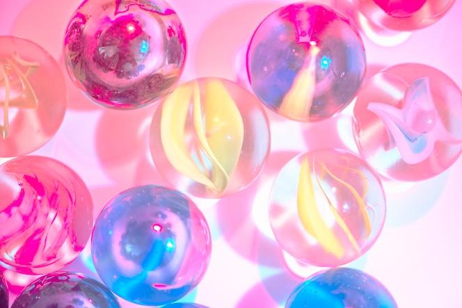 Closeup foto de mármoles de vidrio