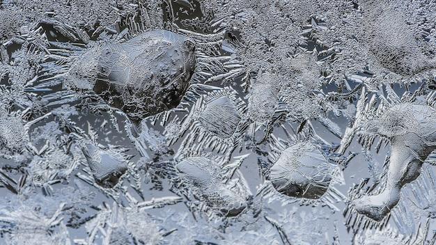 Closeup foto de hermosos patrones de heladas y texturas en un vaso