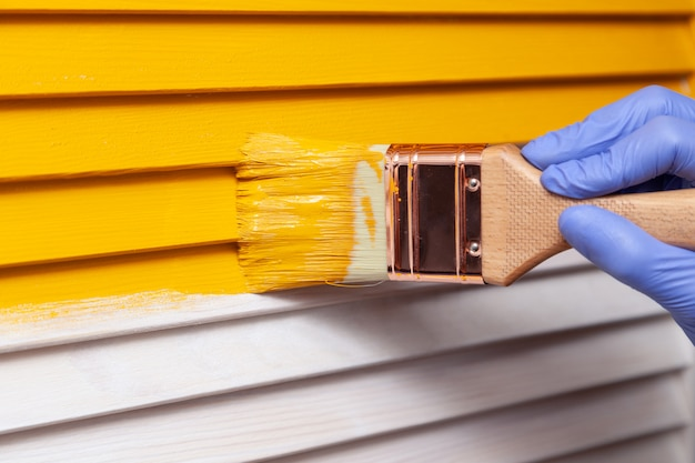 Closeup mano femenina en guante de goma púrpura con pincel pintar puerta de madera natural con pintura naranja. concepto de color brillante diseño creativo interior. cómo pintar una superficie de madera. enfoque seleccionado