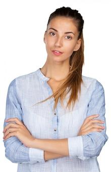 Closeup retrato de mujer joven casual retrato
