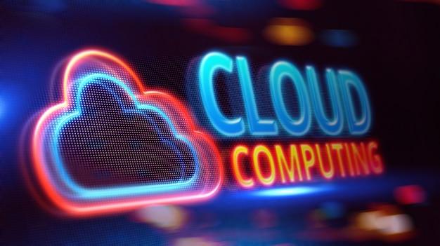 Cloud computing en pantalla led.