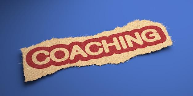 Coaching palabra de papel rugoso, en un círculo rojo. concepto de negocio. render 3d.