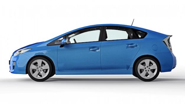 Coche azul híbrido familiar moderno sobre una superficie blanca con una sombra en el suelo
