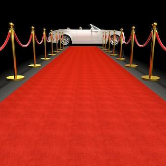 Coche blanco y alfombra roja.