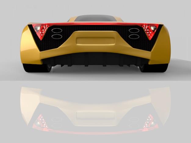 Coche de carreras de concepto amarillo. imagen de un automóvil sobre un fondo gris brillante