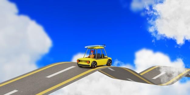 Coche en la carretera en las nubes