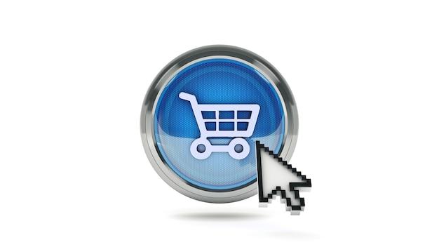 Coche de compras de icono brillante de comercio electrónico con cursor de ratón representación 3d
