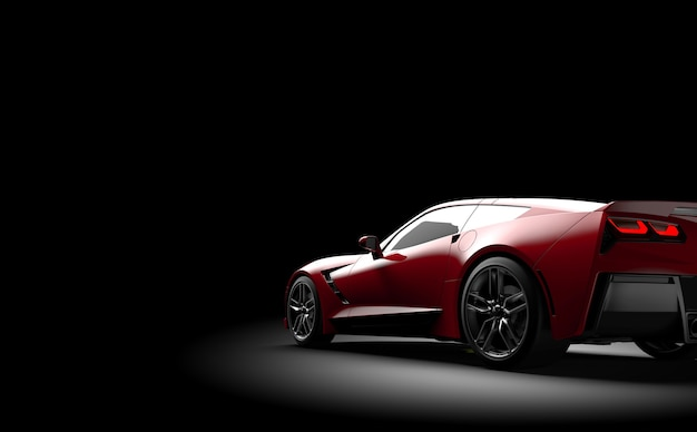 Coche deportivo genérico rojo sobre negro