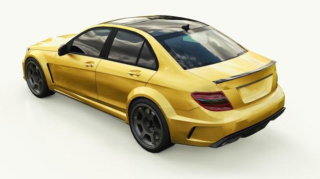 Coche deportivo súper rápido de color dorado metálico sobre un fondo blanco. sedán con forma de cuerpo. tuning es una versión de un automóvil familiar ordinario. representación 3d.