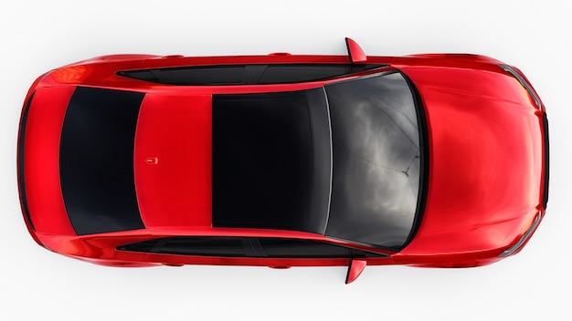 Coche deportivo súper rápido de color rojo metálico sobre un fondo blanco. sedán con forma de cuerpo. tuning es una versión de un automóvil familiar ordinario. representación 3d.