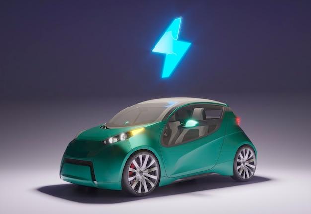 Coche eléctrico 3d con batería cargada