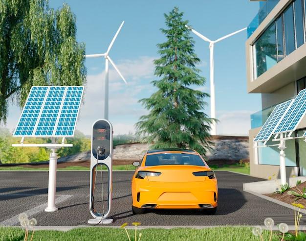 Coche eléctrico 3d estacionado