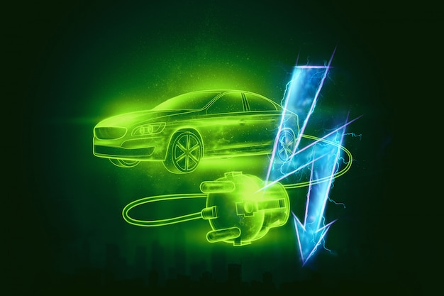 Coche eléctrico con cable de carga, holograma, señal de electricidad.