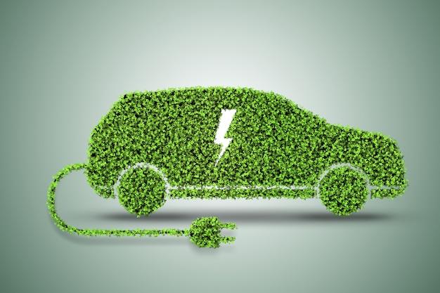 De coche eléctrico verde