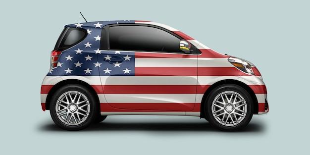 Coche de estados unidos con bandera americana