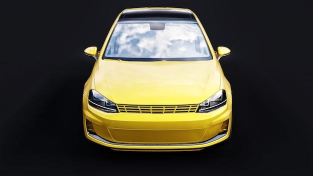 Coche familiar pequeño amarillo hatchback sobre negro