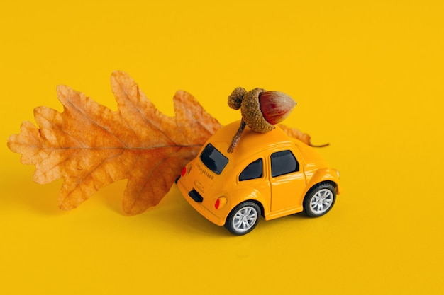 Coche pequeño juguete amarillo con roble y hoja seca de otoño aislada en amarillo
